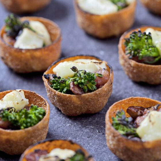 Canapé Tartlets with Tenderstem® broccoli, Lardons, Mushrooms & Brie