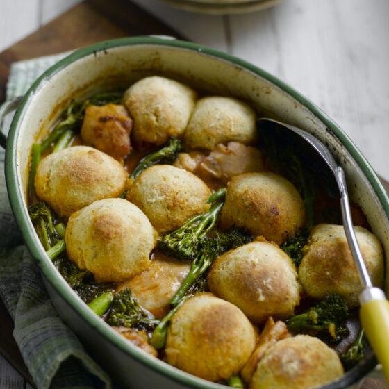 Chicken & Tenderstem® broccoli Casserole With Herby Cheddar Dumplings