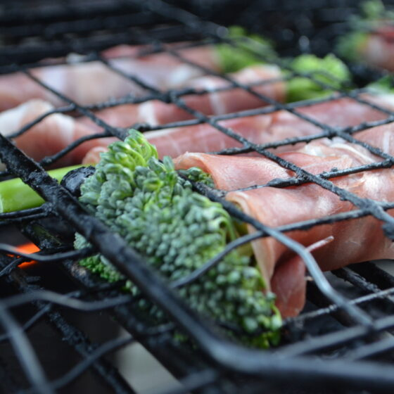 Barbecued Tenderstem® broccoli Wrapped in Parma Ham with Dippy Eggs