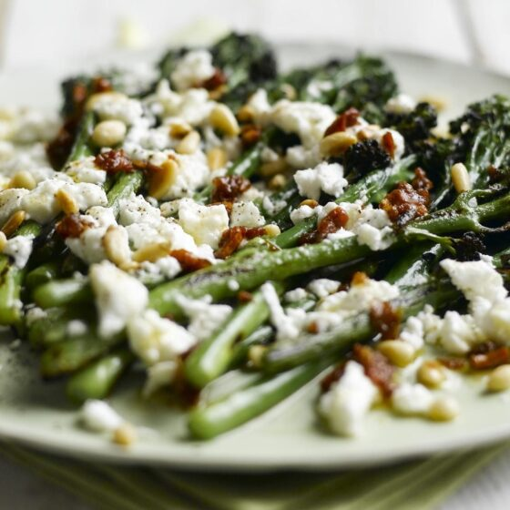 Barbecued Tenderstem® Broccoli, Melted Goat's Cheese & Sun-Dried Tomato Dressing