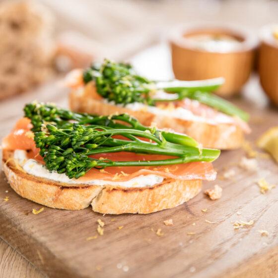 Tenderstem® broccoli, with Smoked Salmon & Chive Crème Fraiche Open Sandwich