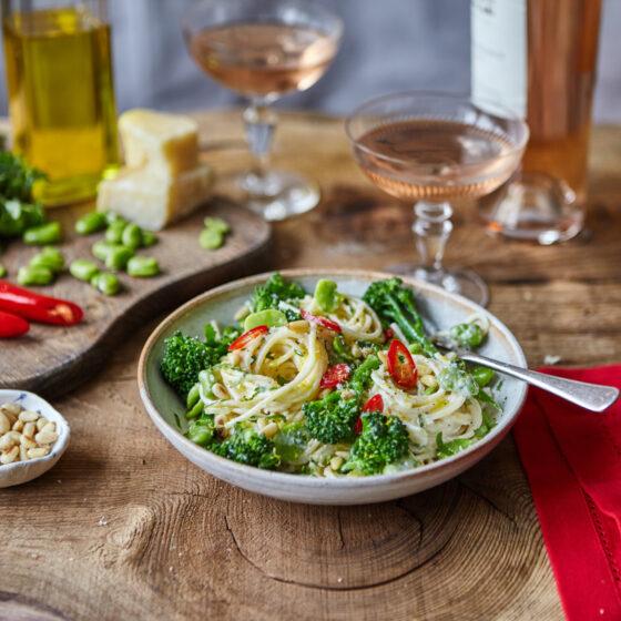 Zesty Lemon & Creamy Pasta with Tenderstem® broccoli, Broad Beans, Parmesan, Pine Nuts & Chilli