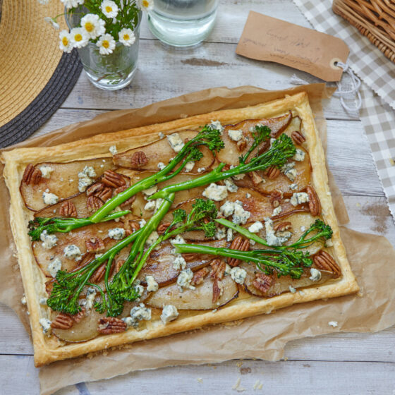 Caramelised Pear, Maple Syrup, Blue Cheese & Tenderstem® broccoli Tart
