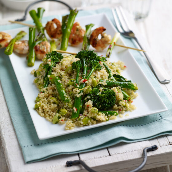 Quinoa Salad with Tenderstem® broccoli, Soy Beans & Chilli Dressing Served with BBQ prawns & Spring Onion Kebabs