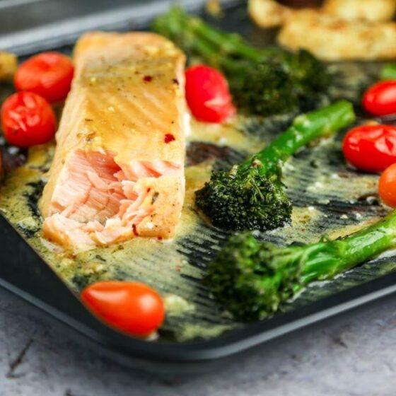 Baked Mustard-Glazed Salmon with Tenderstem® broccoli & Spiced Potato Wedges