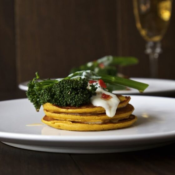 Pumpkin Pancakes with Chilli Fried Tenderstem® broccoli