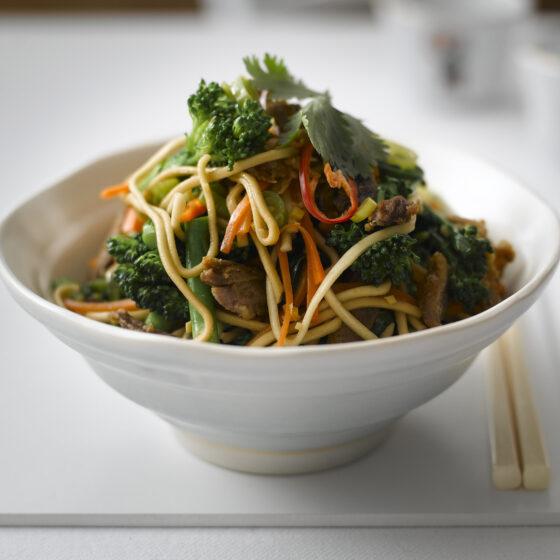 Tenderstem® broccoli Gingered Noodles with Crispy Duck