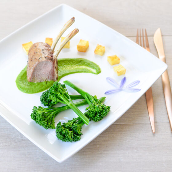 French Trimmed Lamb Cutlets with Tenderstem® broccoli Two Ways & Roasted Garlic Puree