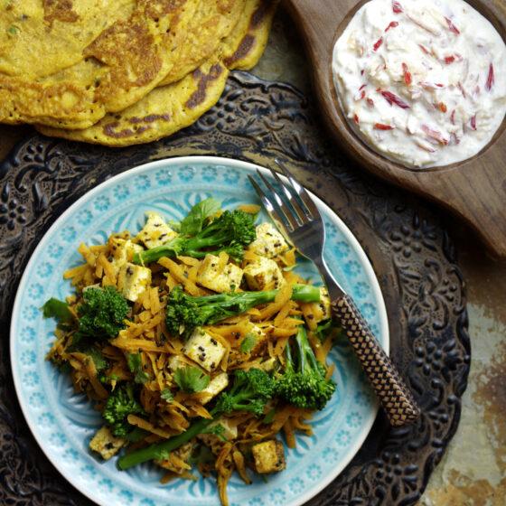 Tenderstem® broccoli, Paneer & Carrot Sambhal Served with Poodla & Pink Lady® Raita